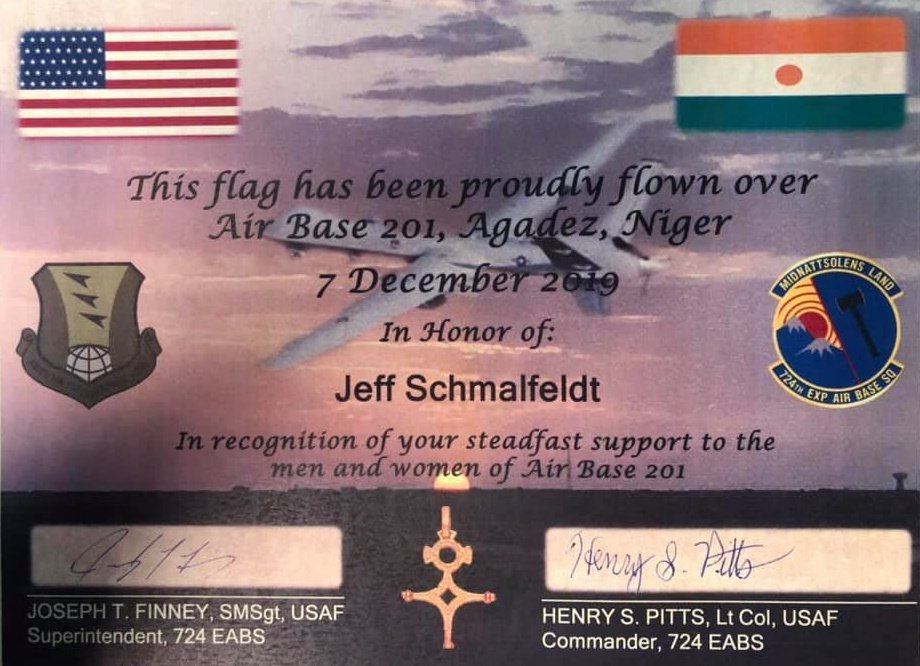 US Air Base 201 Flag Presented to Jeff